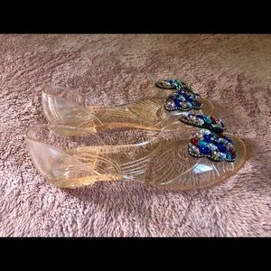 Shoes - New Clear Flats with Sparkling Beads